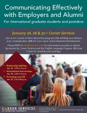 Communicating Effectively with Alumni and Employers flyer