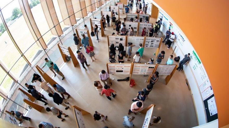 Aerial view of Poster Session in Icahn Laboratory Atrium
